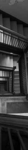 Seashore Hall stairs black and white