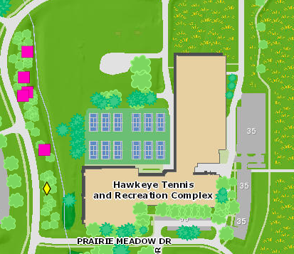 Map location of the UI's orchard of rare and historic fruit trees near the Hawkeye Tennis and Recreation Complex