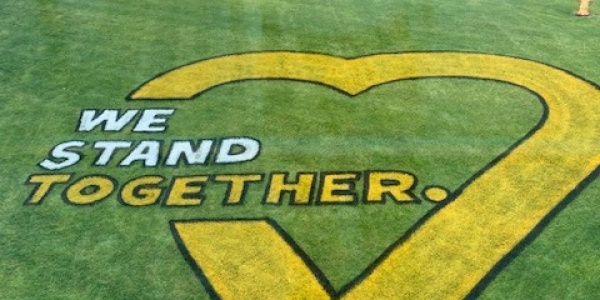 """""""We Stand Together"""" lawn mural"""