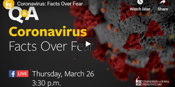 UIHC Facebook Live Coronavirus question and answer thumbnail