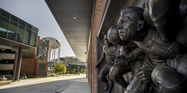 Bronze relief of Duke Slater at Kinnick Stadium