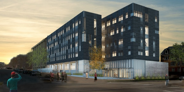Psychological Brain Sciences Building rendering at sunset