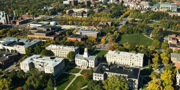 Aerial view of Pentacrest buildings