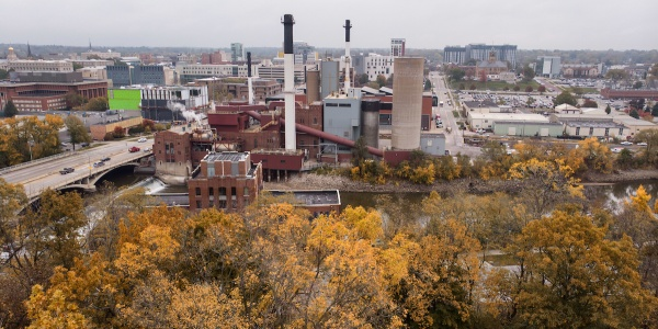 Aerial photo of the power plant taken from a drone in fall