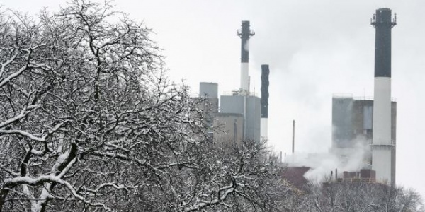 View of Power Plant through Winter Trees
