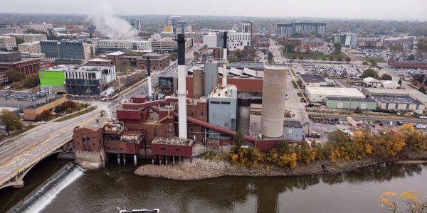 Power plant photographed from drone