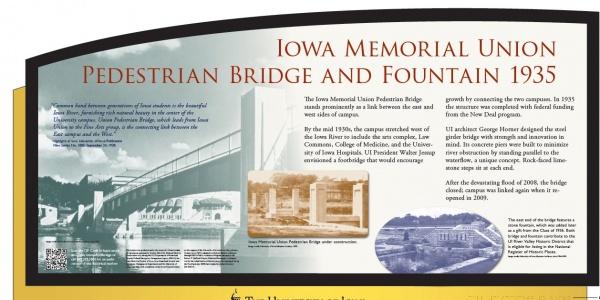 IMU footbridge historical sign