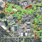 Ash trees on the West side of campus marked by red dots.