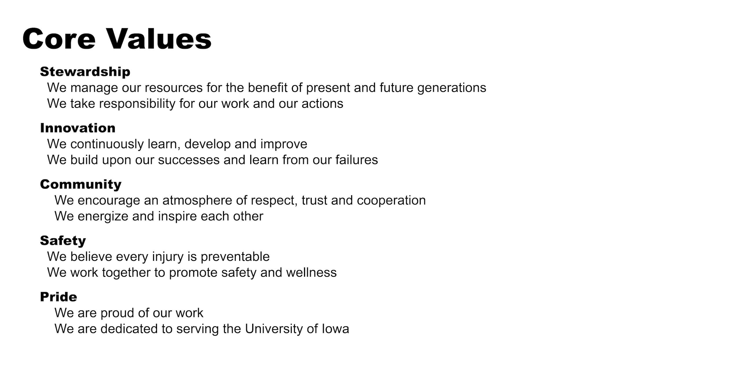 Facilities Management Core values