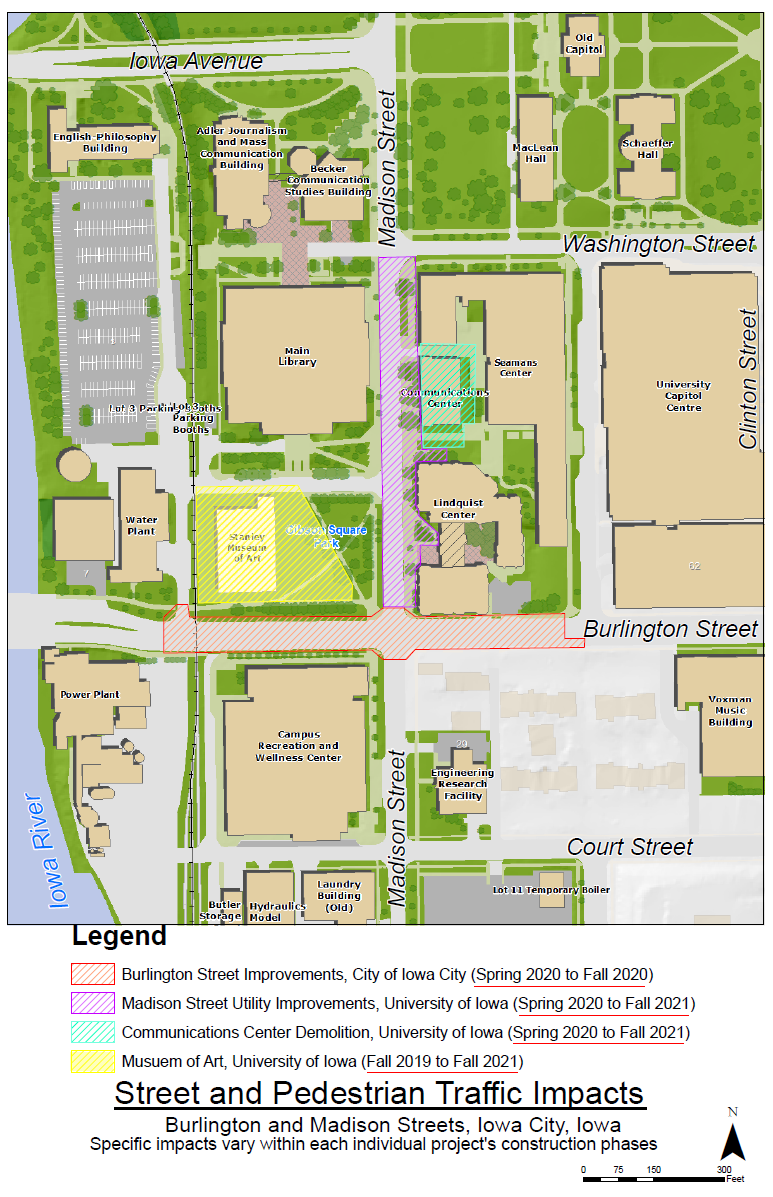 Map of construction projects in Madison and Burlington Street area